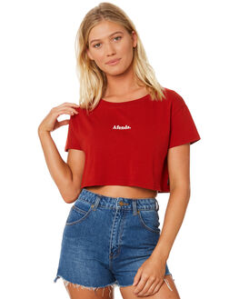 DEEP CHERRY WOMENS CLOTHING AFENDS TEES - W184004CHERR