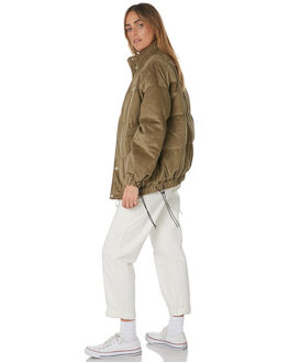 KHAKI WOMENS CLOTHING STUSSY JACKETS - ST191700KHA