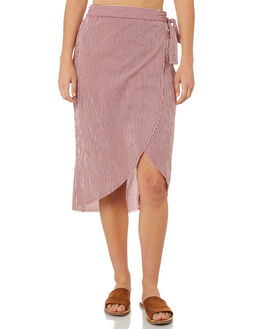 RED MICRO STRIPE OUTLET WOMENS RUE STIIC SKIRTS - WS18-40-RS-CBRED