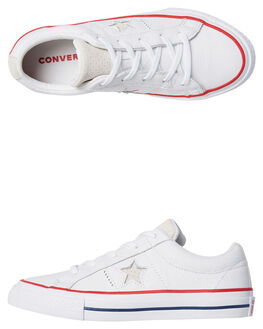 WHITE KIDS BOYS CONVERSE SNEAKERS - 360626WHT