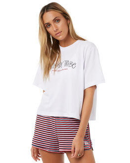 WHITE WOMENS CLOTHING STUSSY TEES - ST1L0262WHT