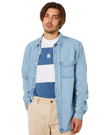 BLUE ACID WASH MENS CLOTHING AFENDS SHIRTS - M191251BLUAC