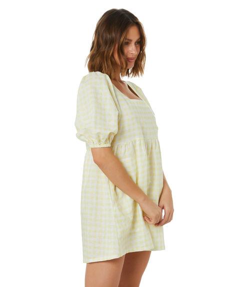 LEMON GINGHAM WOMENS CLOTHING THE HIDDEN WAY DRESSES - H8222454LMGNG