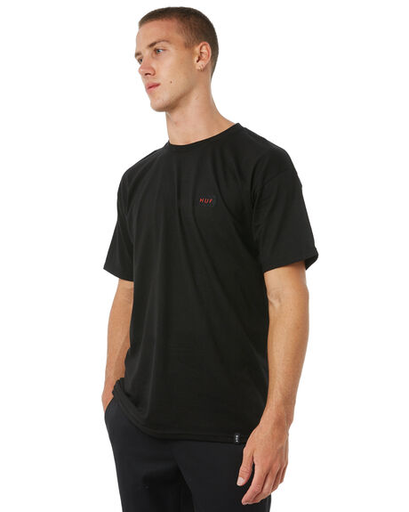 BLACK MENS CLOTHING HUF TEES - TS00182BLK