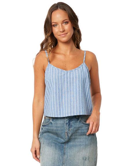 BLUE WOMENS CLOTHING RHYTHM FASHION TOPS - JUL18W-WT05BLU