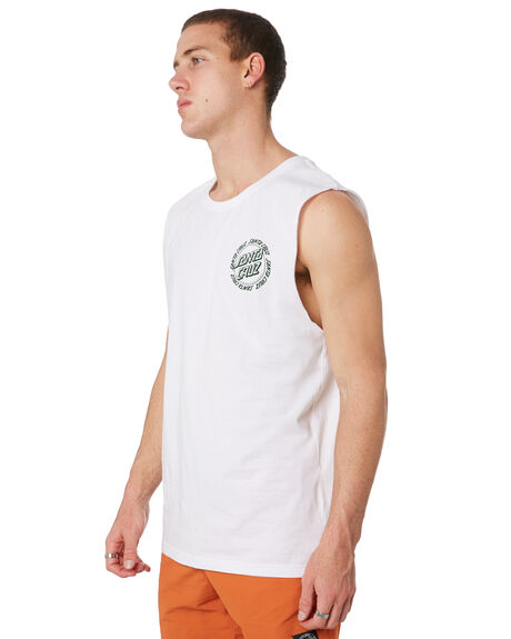 WHITE MENS CLOTHING SANTA CRUZ SINGLETS - SC-MTD9362WHT