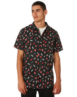 BLACK MENS CLOTHING RVCA SHIRTS - R393181BLK