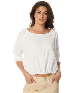 WHITE WOMENS CLOTHING ZULU AND ZEPHYR FASHION TOPS - ZZ1500WHT