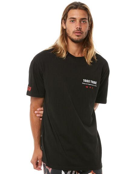 BLACK MENS CLOTHING STUSSY TEES - ST081005BLK