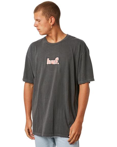 BLACK MENS CLOTHING HUF TEES - TS00255BLACK