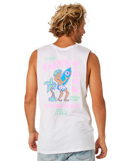WHITE MENS CLOTHING THE LOBSTER SHANTY SINGLETS - LBSTROPWHT