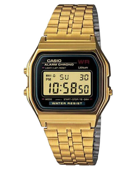 GOLD BLACK MENS ACCESSORIES CASIO WATCHES - A159WGEA-1DF