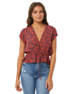 NAVY BLOSSOM WOMENS CLOTHING ROLLAS FASHION TOPS - 12549NAVY