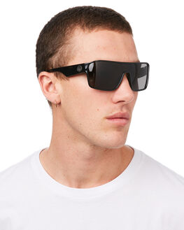 SHINY BLACK GREY MENS ACCESSORIES DRAGON SUNGLASSES - 38356-001SBLKG
