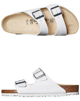 WHITE MENS FOOTWEAR BIRKENSTOCK SLIDES - 051731MWHI