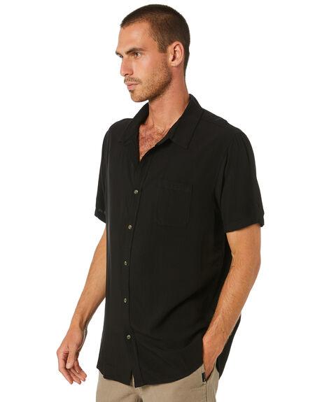 BLACK MENS CLOTHING RUSTY SHIRTS - WSM0977BLK