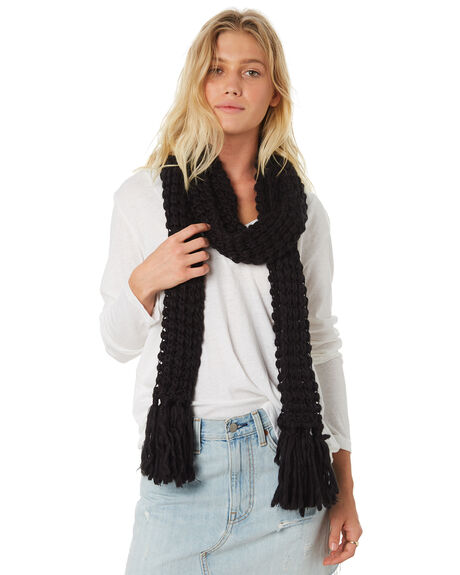 BLACK WOMENS ACCESSORIES RUSTY SCARVES + GLOVES - MAL0106BLK