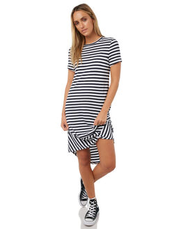 NAVY WHITE WOMENS CLOTHING SILENT THEORY DRESSES - 6008016NVWHT