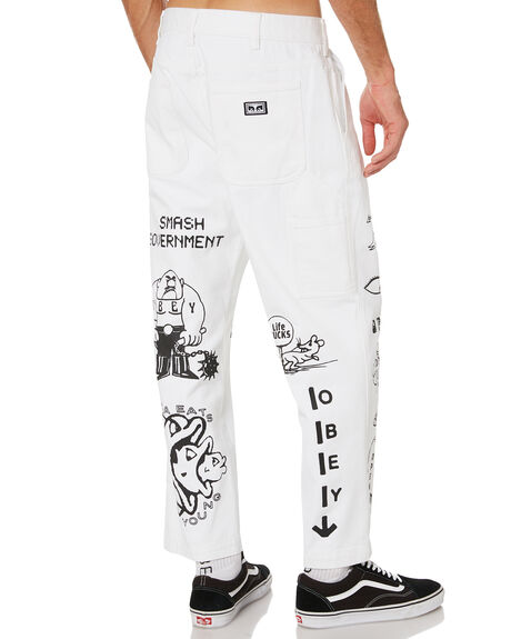 WHITE MENS CLOTHING OBEY JEANS - 142010075WHT