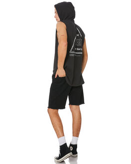 WASHED BLACK MENS CLOTHING SILENT THEORY SINGLETS - 4044026WBLK