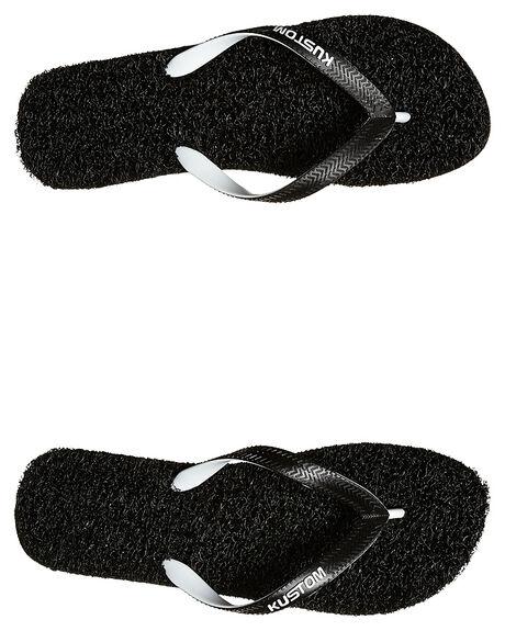BLACK WHITE MENS FOOTWEAR KUSTOM THONGS - 4946202FBKWH