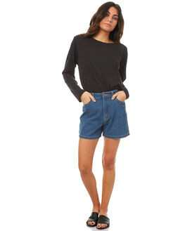 VINTAGE BLUE WOMENS CLOTHING AFENDS SHORTS - 52-01-083VBLU