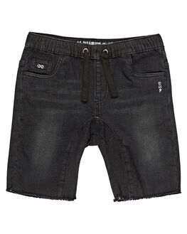 BLACK DENIM KIDS BOYS ALPHABET SOUP SHORTS - AS-KWC8345BKDNM