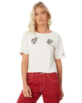 VINTAGE WHITE WOMENS CLOTHING RVCA TEES - R281684VWH