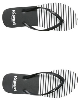 BLACK WHITE WOMENS FOOTWEAR RIP CURL THONGS - TGTE080431