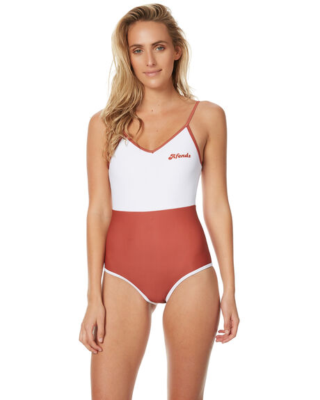 RED WHITE WOMENS SWIMWEAR AFENDS ONE PIECES - 50-08-048RDWHT