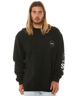 BLACK MENS CLOTHING STUSSY JUMPERS - ST081203BLK