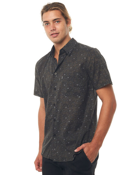 BLACK MENS CLOTHING AFENDS SHIRTS - M181204BLK