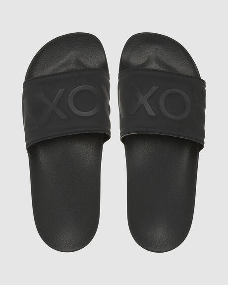 BLACK WOMENS FOOTWEAR ROXY SLIDES - ARJL100679-BL0