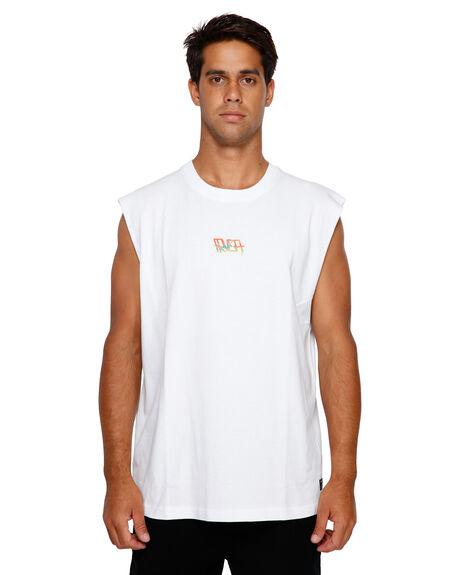 WHITE MENS CLOTHING RVCA SINGLETS - RV-R191001-WHT