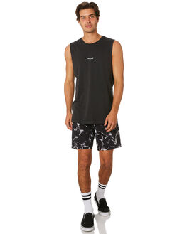 BLACK MENS CLOTHING VOLCOM SINGLETS - A3731971BLK