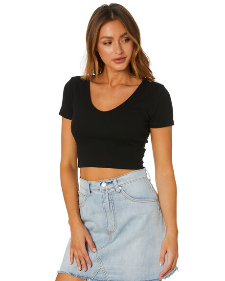 BLACK WOMENS CLOTHING ALL ABOUT EVE TEES - 6456110BLK