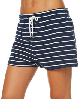 NAVY WHITE STRIPE WOMENS CLOTHING SWELL SHORTS - S8173552NAVWS