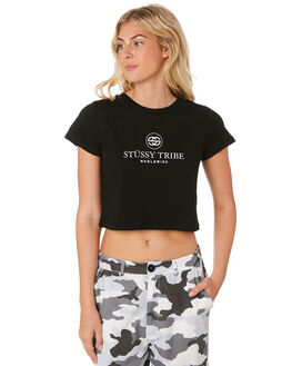 BLACK WOMENS CLOTHING STUSSY TEES - ST183003BLK