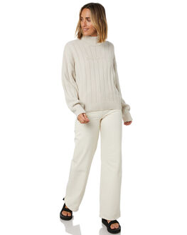 WHITE SAND WOMENS CLOTHING STUSSY KNITS + CARDIGANS - ST106300WHTSD
