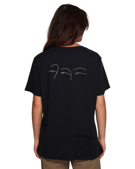 BLACK WOMENS CLOTHING RVCA TEES - RV-R407682-BLK