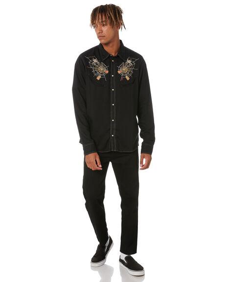 BLACK MENS CLOTHING NUDIE JEANS CO SHIRTS - 140711B01BLK