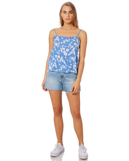 BLUE FLORAL WOMENS CLOTHING ELWOOD FASHION TOPS - W94323H91