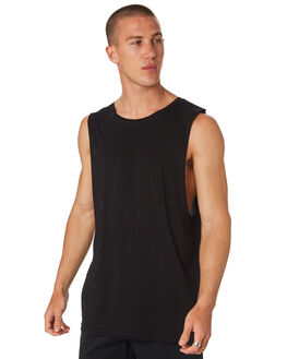 BLACK MENS CLOTHING AS COLOUR SINGLETS - 5025BLK