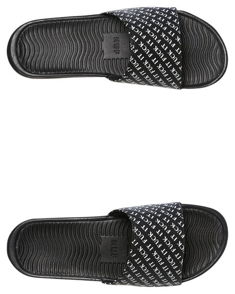 BLACK MENS FOOTWEAR HUF SLIDES - CP00040-BLACK