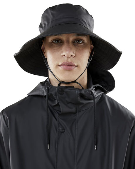 BLACK MENS ACCESSORIES RAINS HEADWEAR - RNS2003BLK
