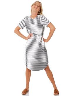 NAVY WHITE STRIPE WOMENS CLOTHING ELWOOD DRESSES - W83717-AV0