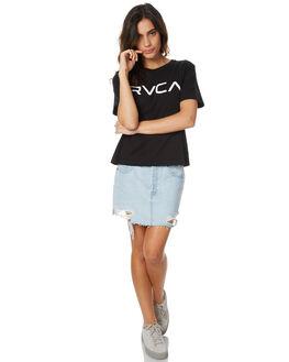 BLACK WOMENS CLOTHING RVCA TEES - R271684BLK