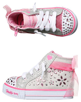 GREY PINK KIDS TODDLER GIRLS SKECHERS FOOTWEAR - 10777NLGPK
