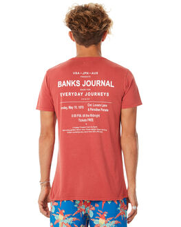 VINTAGE RED MENS CLOTHING BANKS TEES - WTS0284VTR