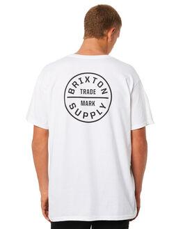 WHITE BLACK MENS CLOTHING BRIXTON TEES - 06281WHBLK
